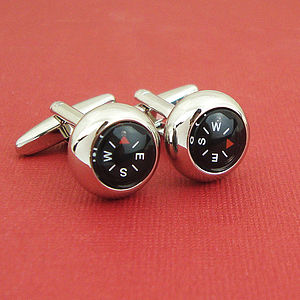 Rhodium Plated Working Compass Cufflinks - gifts for him