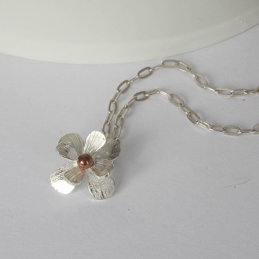 Handmade Silver Daisy Necklace By Caroline Brook