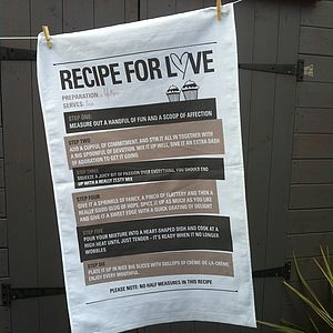 'Recipe For Love' Tea Towel By Illustries