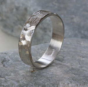 Unisex Textured Silver Band Ring