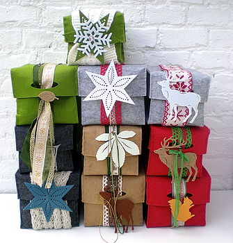 Christmas Felt Boxes With Tags