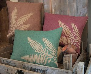 ' Fern ' Hessian Cushion - bedroom
