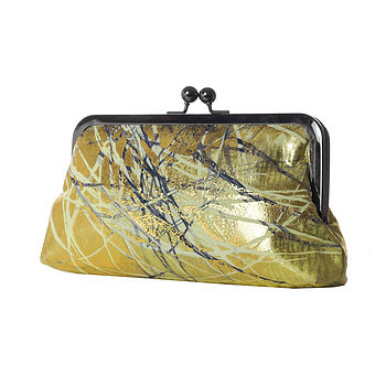 Metallic Gold Hand Printed Clutch Handbag