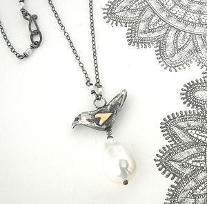 Silver Blackbird With Gold Heart And Pearl - necklaces & pendants