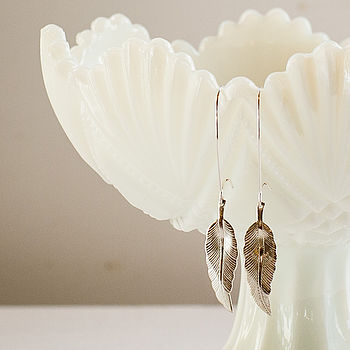 Feather Earrings In Gold Or Silver