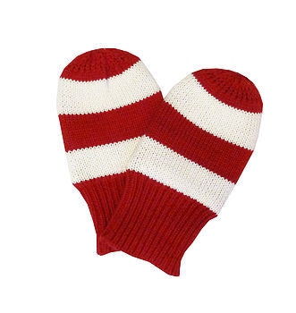 Red & White Stripe Knitted Mitts