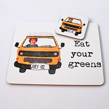 Personalised Campervan Placemat And Coaster