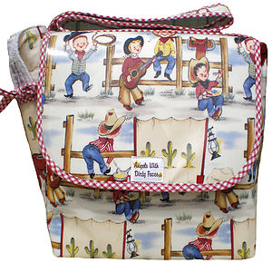 Printed Oil Cloth Baby Changing Bag - practical baby gifts