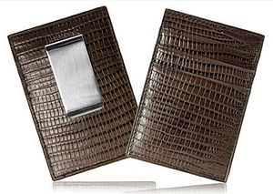 Leather Lizard Card Holder With Money Clip - wallets & money clips