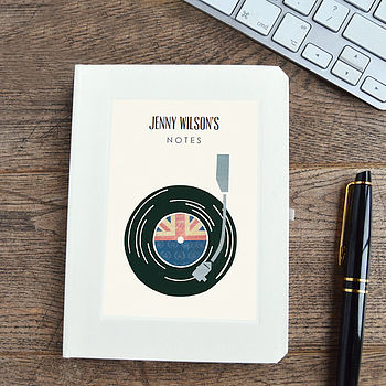 Personalised Record Player Notebook