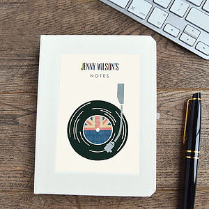 Personalised Record Player Notebook - office & study