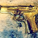 Limited Edition Gold Porcelain Gun Ornament