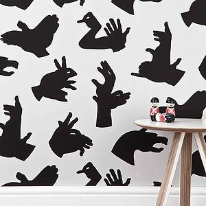 'Hand Made' Grey Hand Shadow Wallpaper - children's decorative accessories
