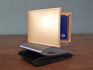 Leather Card Holder In Black, Gold, Silver