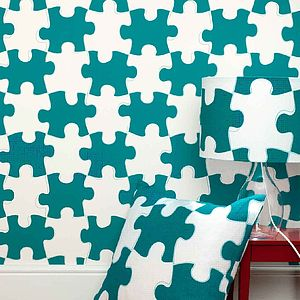 Puzzle Pieces Wallpaper - children's room
