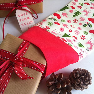 Retro Woodland Christmas Stocking - stockings & sacks