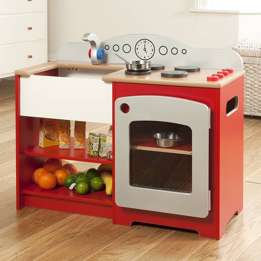 Kids play kit wooden red country play kitchen by millhouse for Toy kitchen set