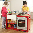 Kids Play Kit Wooden Red Country Play Kitchen