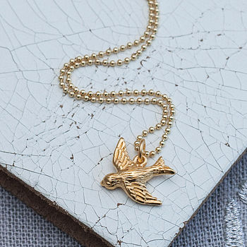 Gold Bluebird Necklace