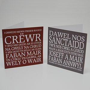 Carols Welsh Christmas Cards, Six Pack