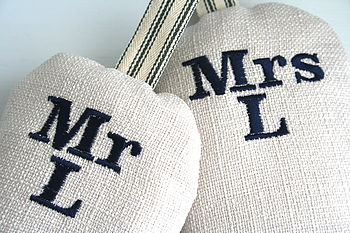Mr & Mrs (NAVY) with cream fabric