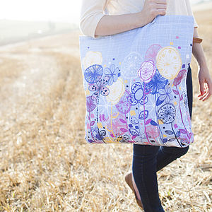 Quirky Floral Stems Canvas Shopper Bag - florals