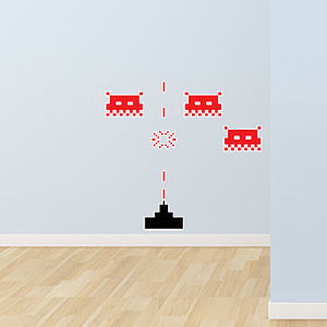Small Space Invaders Wall Stickers - office & study