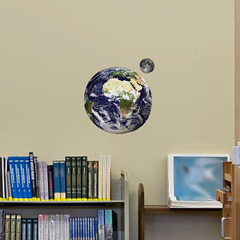 Small Educational Earth & Moon Wall Stickers