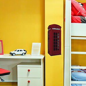 Small British Phone Box Wall Sticker - office & study