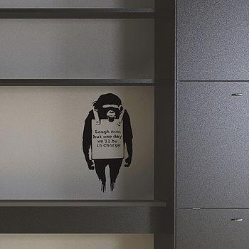 Small Banksy Monkey Sign Wall Sticker