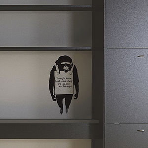Small Banksy Monkey Sign Wall Sticker - office & study