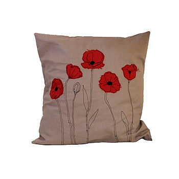 Embroidered Poppy Cushion