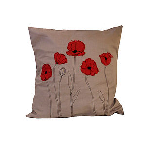 Embroidered Poppy Cushion - cushions
