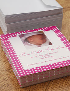 Polka Dot Birth Announcement Cards