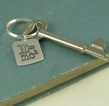 E=Mc² Precious Silver Charm Key Ring