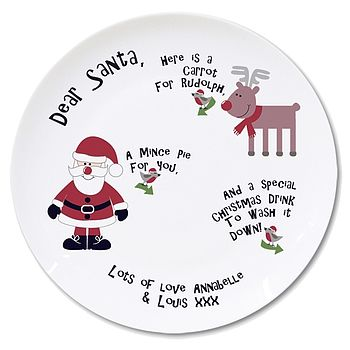 Personalised Santa And Rudolf Treat Plate