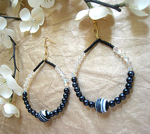 Striped Howlite Gemstone Hoops - earrings