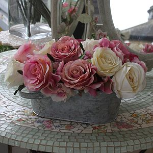 Vintage Style Silk Rose Tin - home accessories