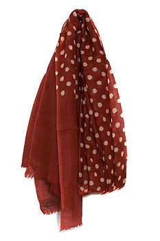 Wool polka dot scarf in cherry red