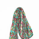 Cotton Scarf Old Rose Turquoise