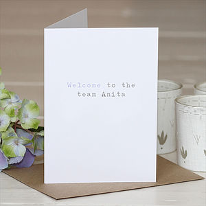 Personalised 'Welcome' Greetings Card - new job cards