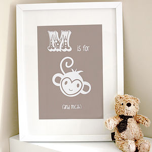 Personalised Child's Monkey Artwork - posters & prints for children