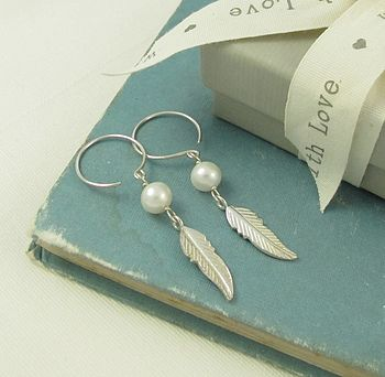 Freedom Feather Pearl Silver Earrings