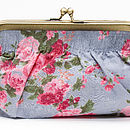 Clutch or cosmetic bag in vintage rose smoky blue