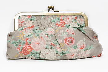 Clutch or cosmetic bag in vintage rose pale stone