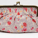 Clutch or cosmetic bag in posy dusky pink