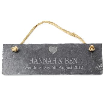 Personalised Heart Motif Slate Plaque
