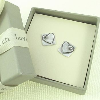 Love Fix Silver Heart Stud Earrings