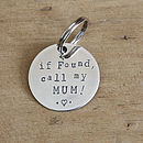 Merry Dogs 3.2cm/1.25in sterling silver dog ID tag - if found, call my MUM! (with heart icon)