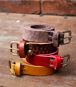 Vintaged 'Blake' Skinny Leather Belt - belts
